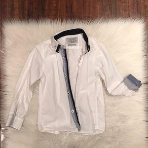 Zara White and blue button down dress shirt